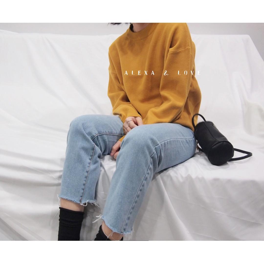 Alexa&Love 姜黃基礎寬鬆素色純色針織毛衣(限量)