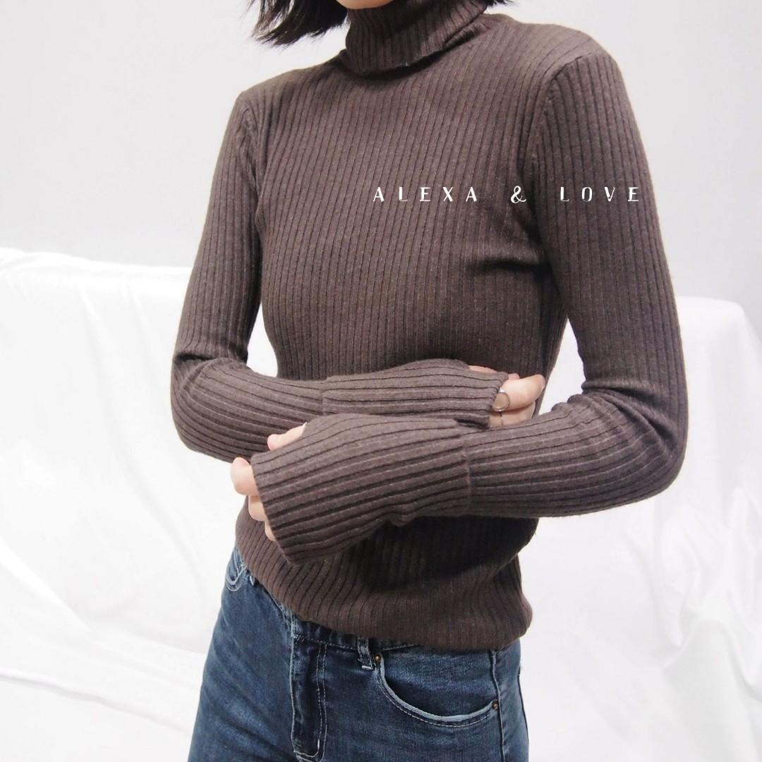 Alexa&Love 素色柔軟韓款顯瘦長袖套袖高領針織上衣毛衣(三色特)