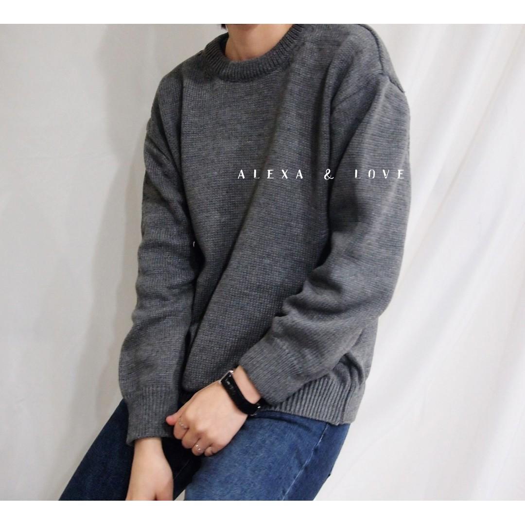 Alexa&Love 歐美基礎炭灰色中厚款圓領長袖毛衣(特)