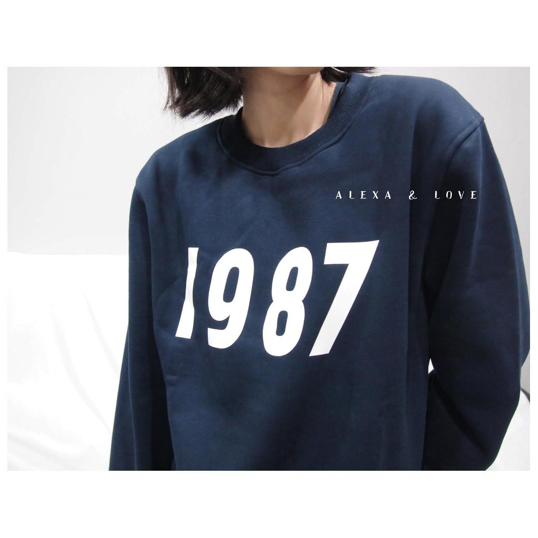 Alexa&Love 韓款藏藍色數字加絨長袖厚款T恤衛衣TEE