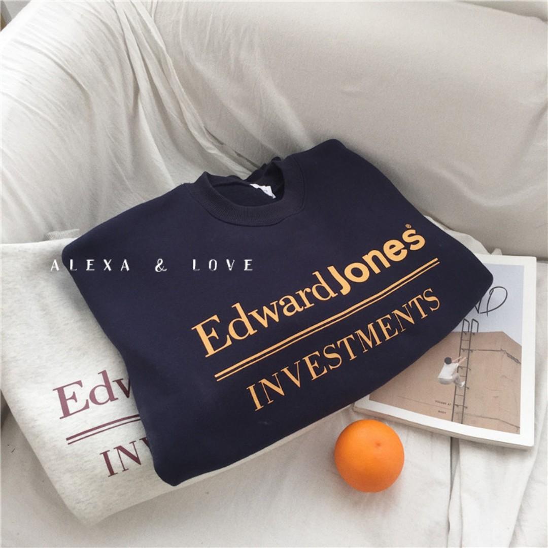 Alexa&Love 韓款雙色加絨長袖字母T恤衛衣TEE