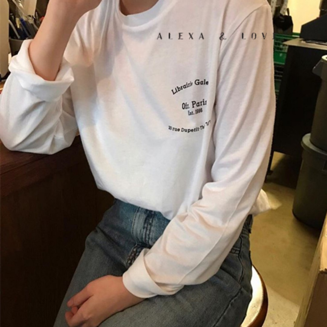 Alexa&Love 韓國白色字母長袖圓領T恤TEE(特)
