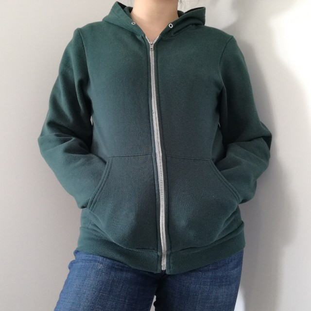 AMERICAN APPAREL FOREST GREEN ZIP UP HOODIE SWEATER