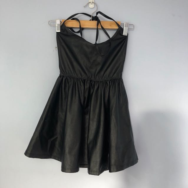 American apparel leather halter dress