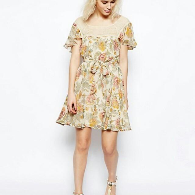 Asos floral cream lace trim boho dress
