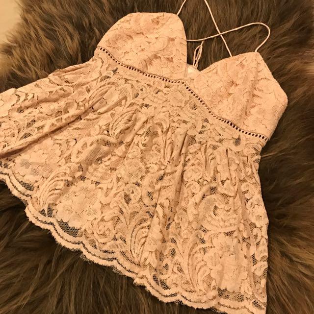 Bardot Peach Lace Top Size 12