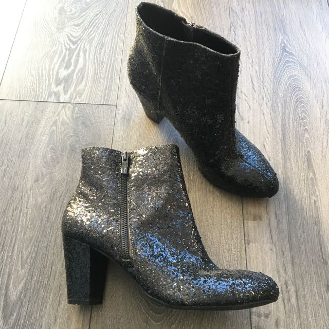BCBG Black Sparkle Booties