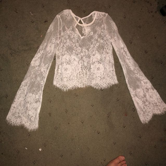 Bell-Sleeved Lace Crop