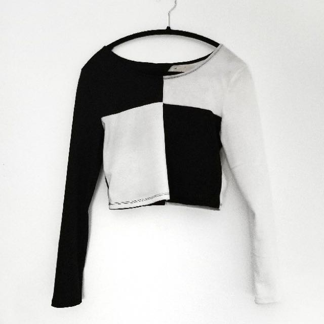 Black and white colour block crop top