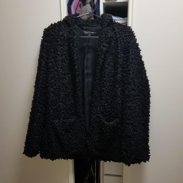 Black furry coat jacket