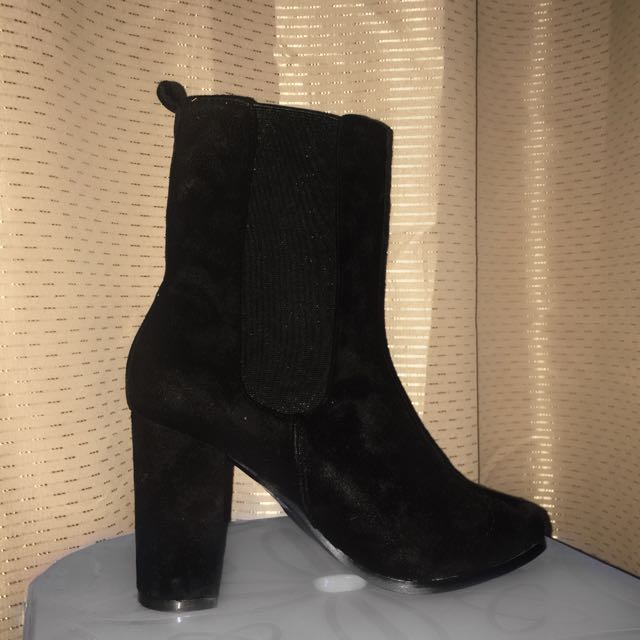 Black Heeled Sock Boots Over The Ankle Mesh Heel Yeezy Style