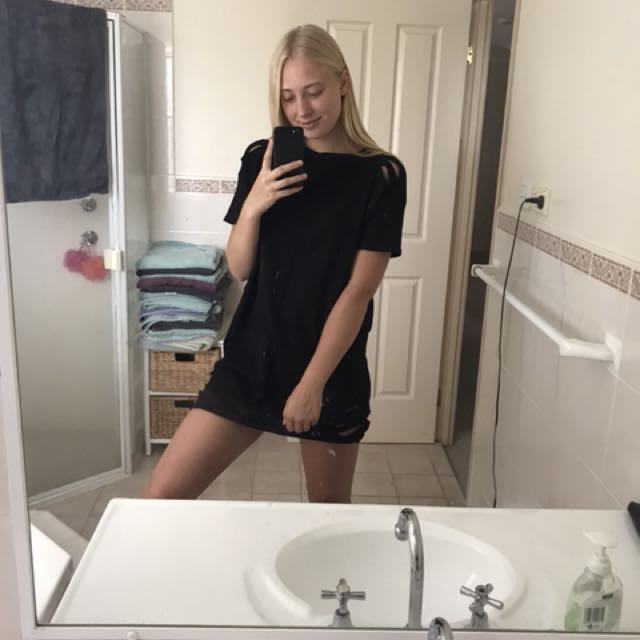 Black Holey T-Shirt Dress