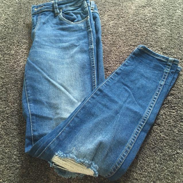 Blue Ripped Wrangler Skinny Jeans
