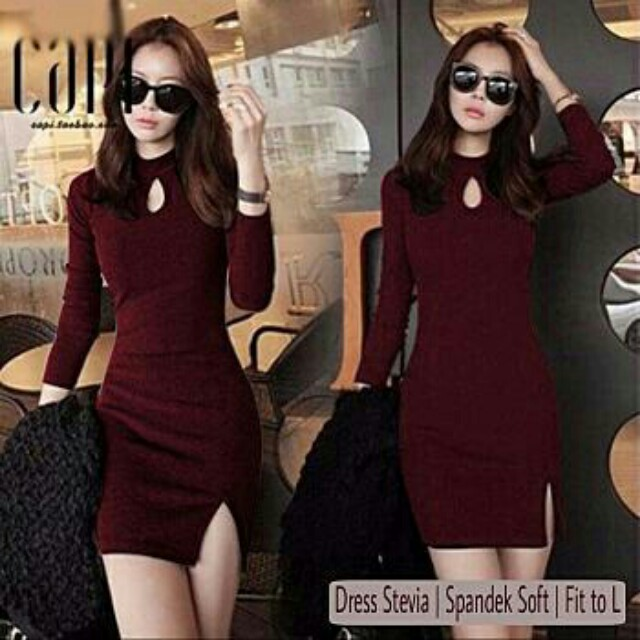 BMD.DRES STEVIA BLACK 42.000 bahan spandex soft, all size fit to L