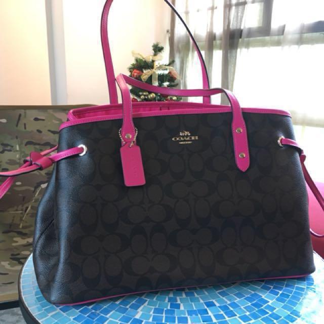 Bn Coach Bag Dark Brown Fuchsia Luxury Bags Wallets On Carou