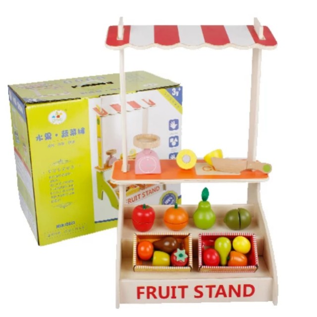 Bn Wooden Fruit Stand Supermarket Groceries Display Cart Set Babies