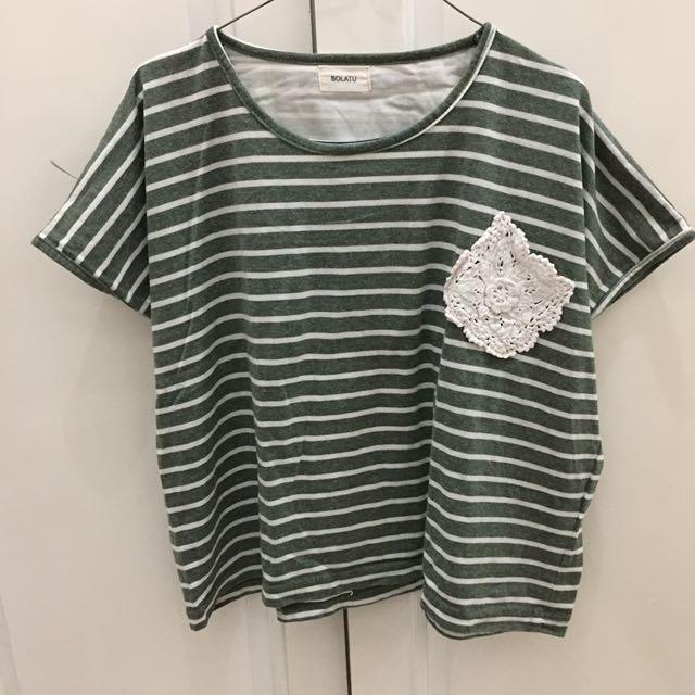 BOLATU Green Striped Crop Top