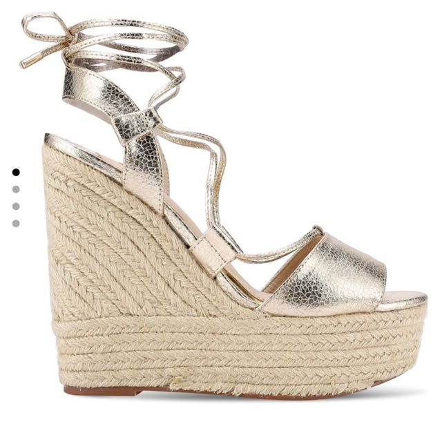 Brand new River Island Gold Tie Up Wedges