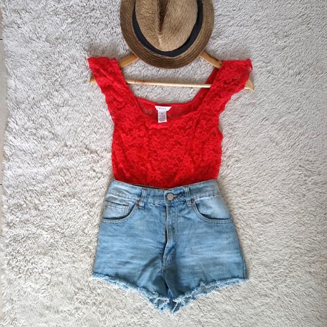 Candie's Lace blood orange summer top
