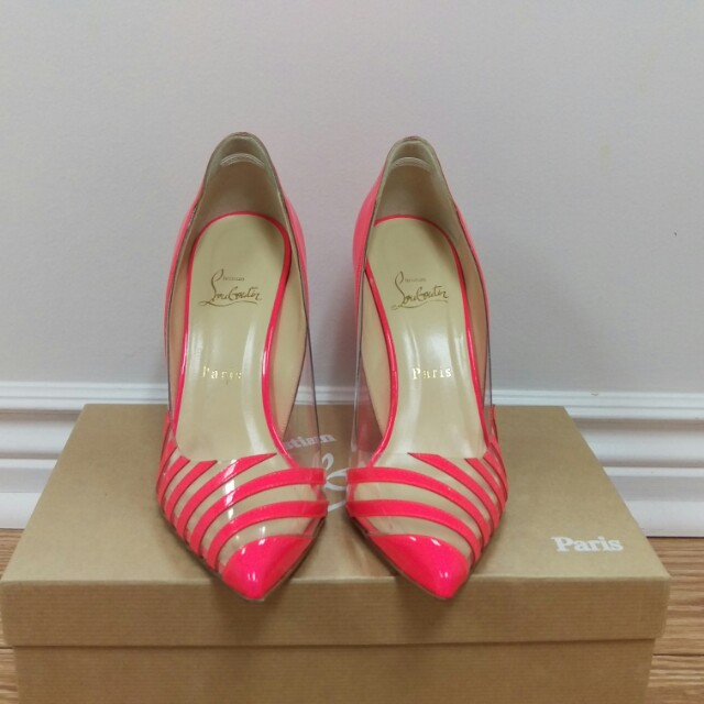100% authentic Christian Louboutin Pivichic pink 100 patent heels shoes sz 38.5