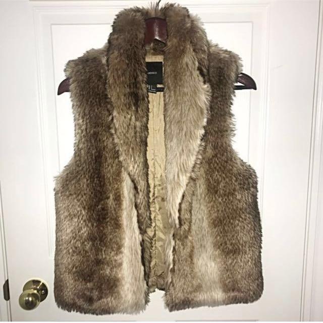 F21 faux fur vest