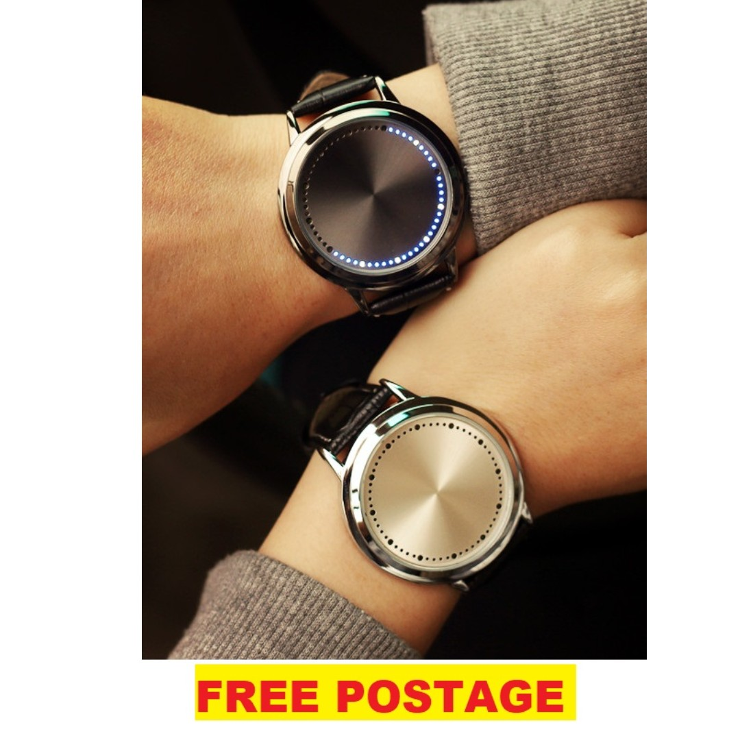 Fashion Touch Screen LED Leather watch couple with warranty