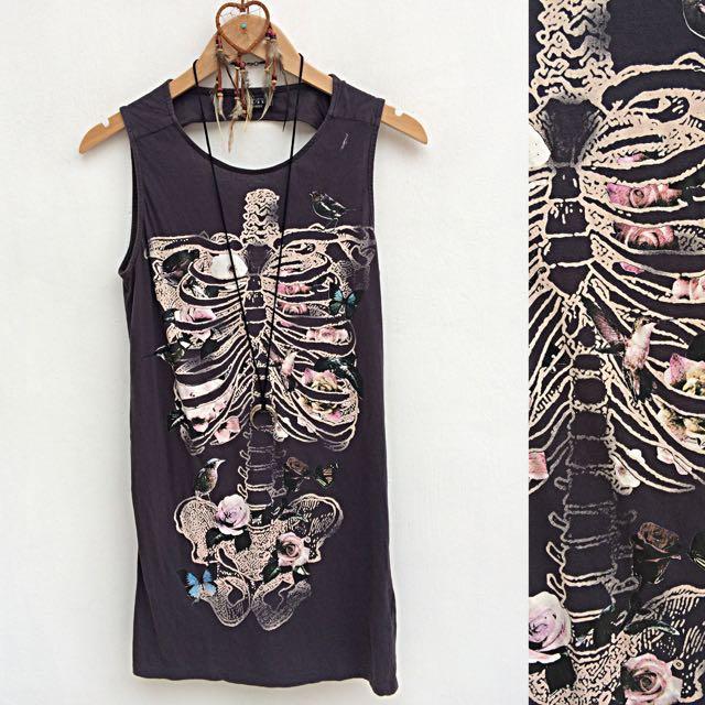Flora & Fauna Skeleton Mini Dress/Long Top