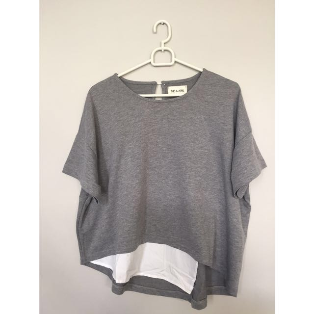 Grey Asymetris Top - This is April (brand)