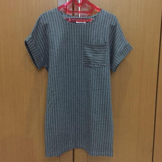 Grey stripes dress