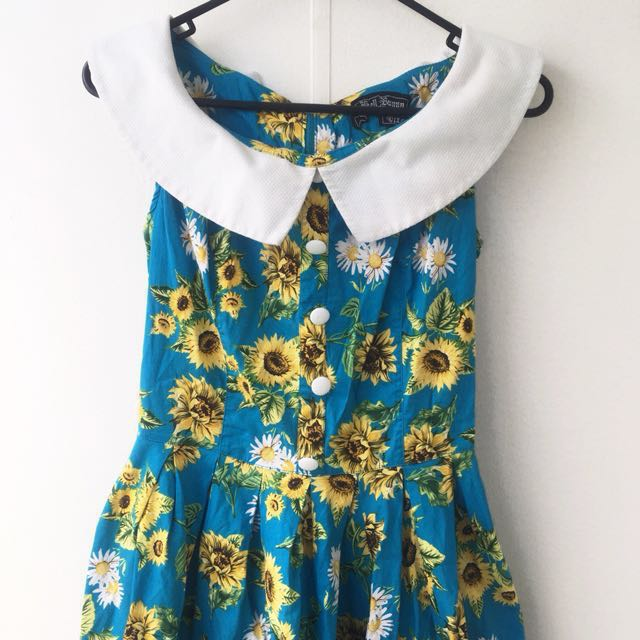 Hell Bunny Pin Up Sunflower Dress Size Small 10/12