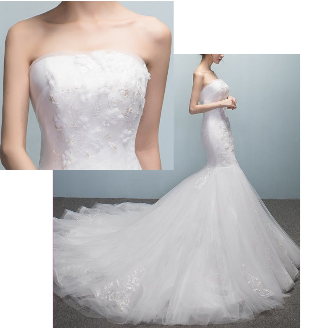 Ladies - Tube Mermaid Wedding Gown L1664, Women\'s Fashion, Clothes ...