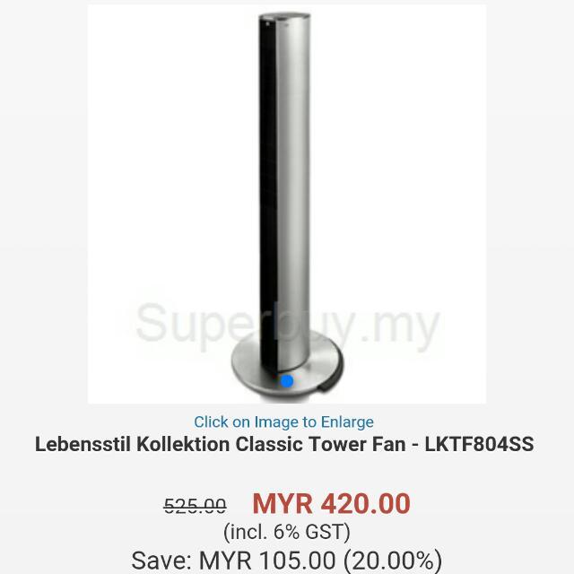 Lebensstil Kollekion Tower Fan Lktf-804ss Market Rm420