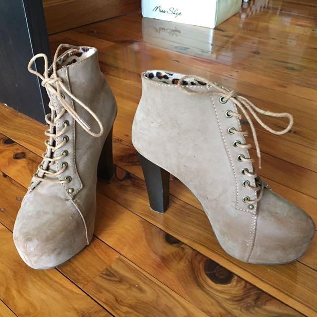 Leopard print heels boots