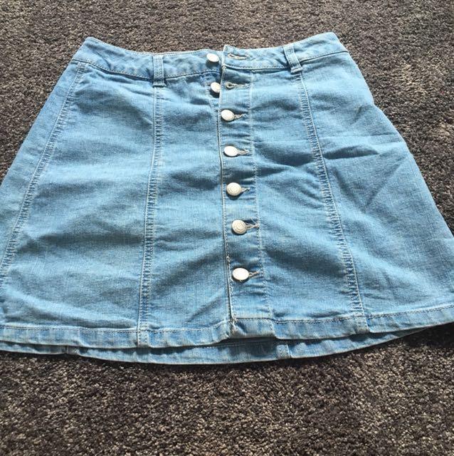 Light Blue Button Up Denim Skirt