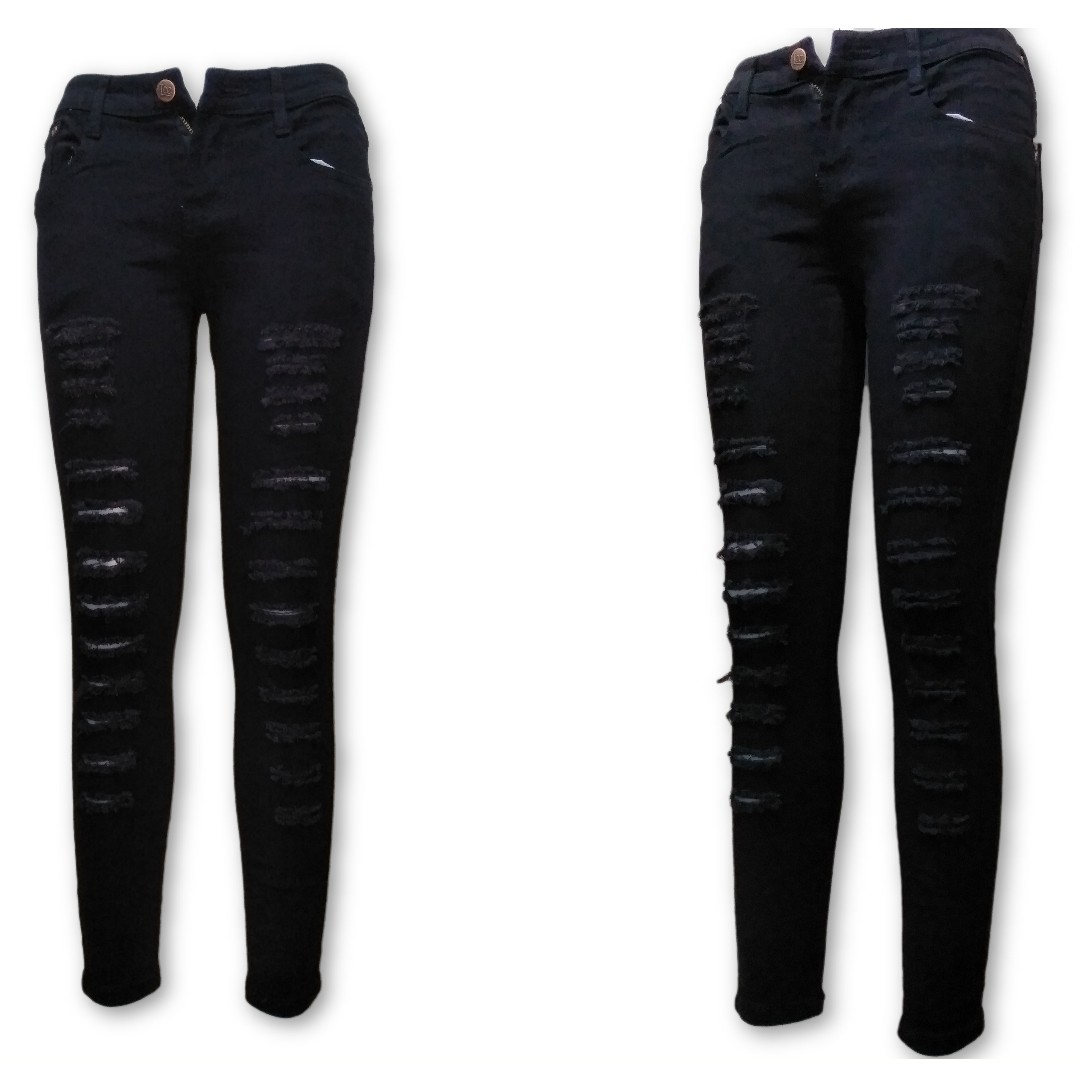 Low-waisted Black Tattered/Ripped Jean