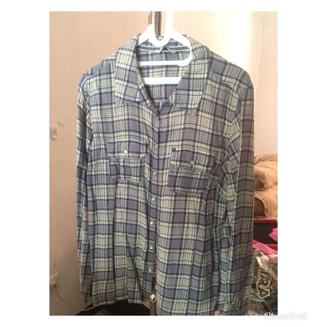 MARKS & SPENCER women shirt blouse plaid pakaian wanita blus kemeja kotak kotak