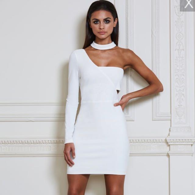 MESHKI Mona Choker Mini Dress - White