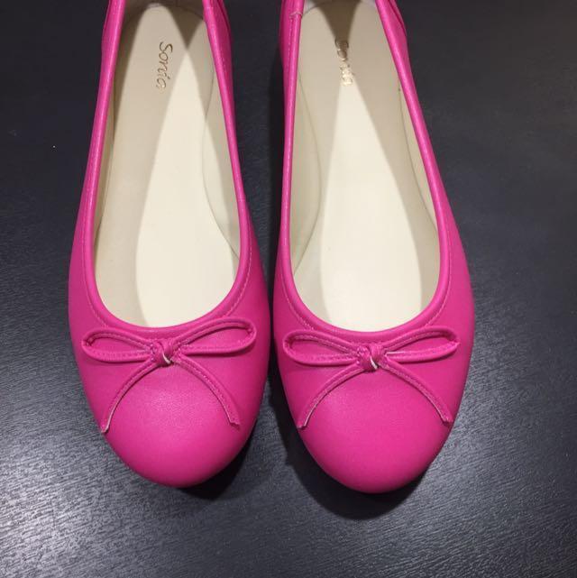 全新Miss Sofi副牌Sonia 桃紅色 豆豆鞋 娃娃鞋 芭蕾平底鞋