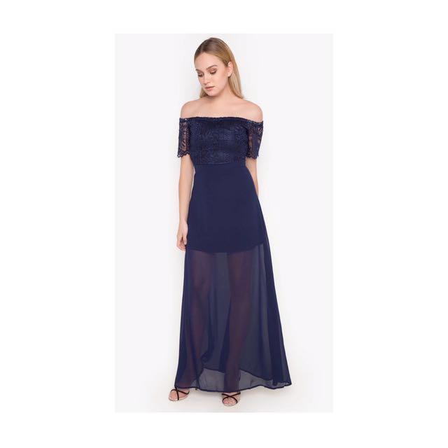 Navy Blue Long Semi Formal Dress
