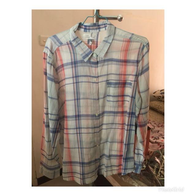 OLD NAVY OLDNAVY women shirt blouse plaid pakaian wanita blus kemeja kotak kotak