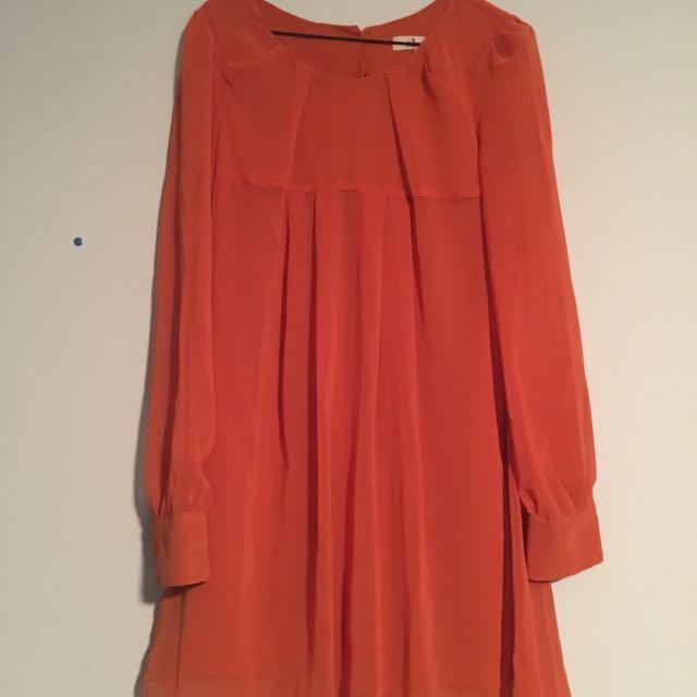 Orange sleeve cuffed dress
