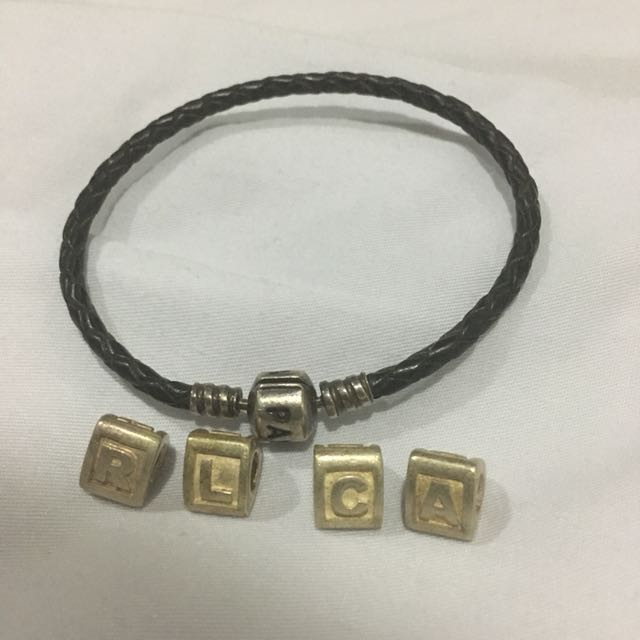 Pandora leather bracelet and charms RUSH