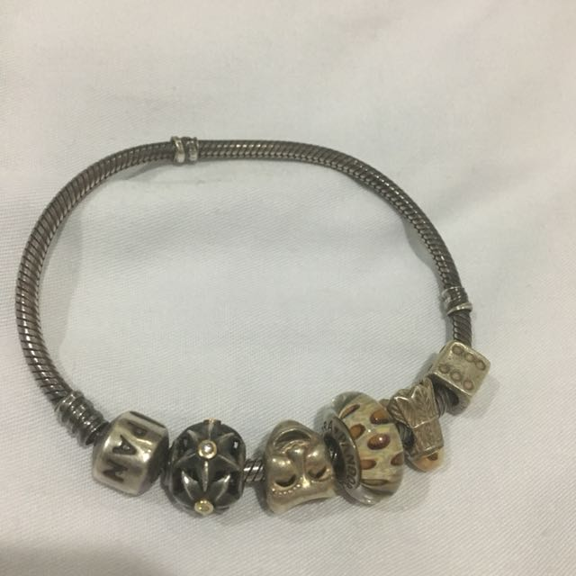 Pandora oxidised braclet and charms RUSH