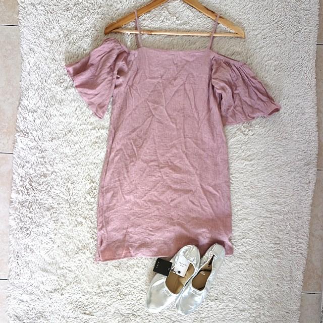 Pastel Plum off shoulder pixie dress