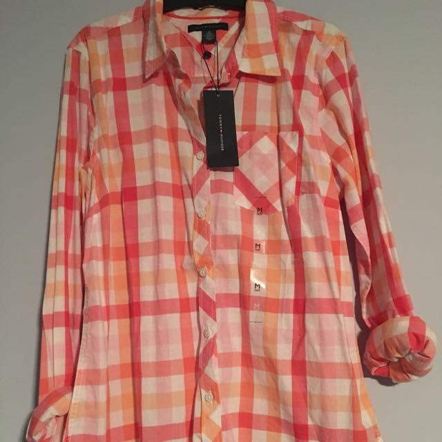 Peachy checkered shirt/flannel