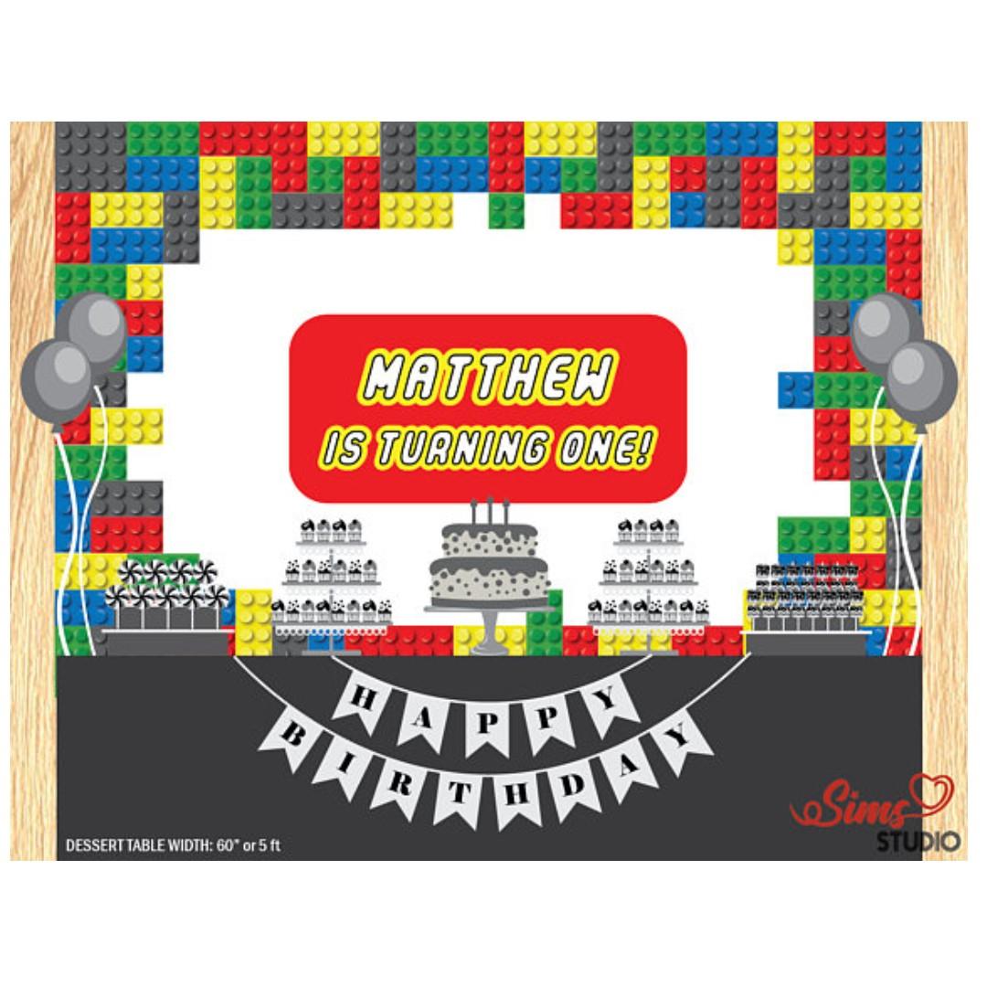 picture regarding Printable Backdrop named Custom-made 3D Lego Designing Block Birthday Printable
