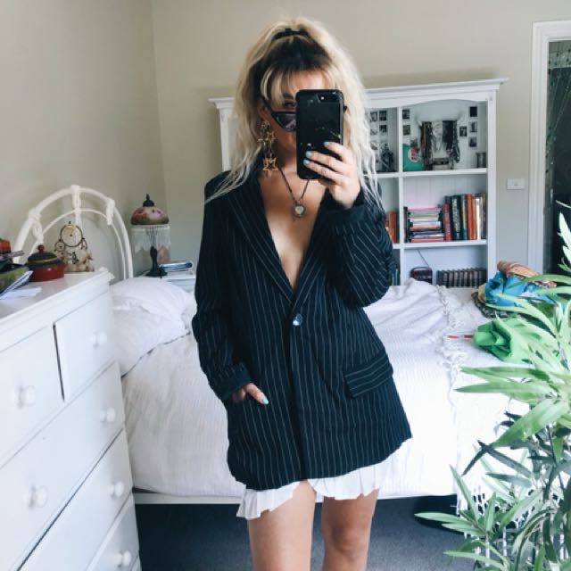 Pinstripe blazer and skirt set
