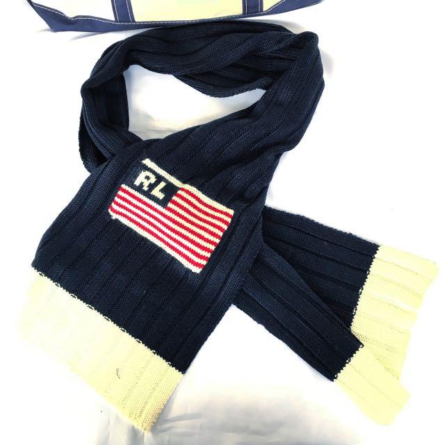 🇺🇸POLO RALPH LAUREN美國旗針織藍白色高品質圍巾 男女皆可Vintage 歐美帶回古著