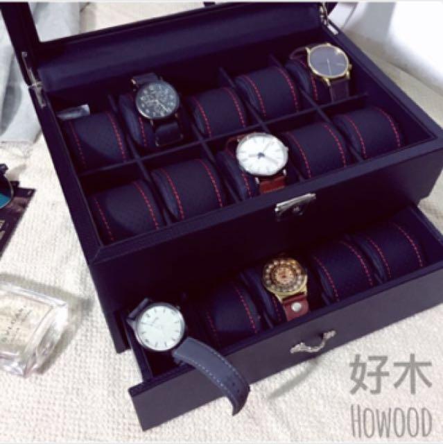 高級PU皮革 錶盒 置物盒 飾品盒 黑色時尚