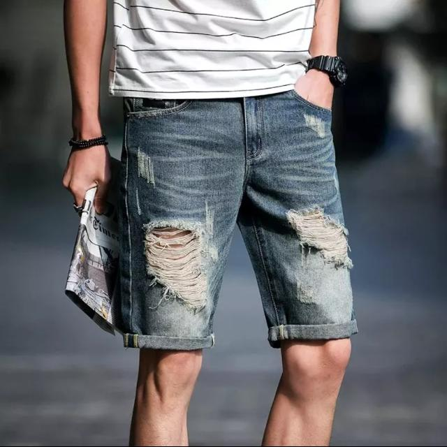 Ripped Short Jeans Denim Pants Shorts Swag Fashion Cutting Cool Gentleman Hip-hop Dope Hipster